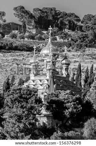 The Russian Orthodox church of Mary Magdalene at the mount Olives - Jerusalem, Israel (black and white) - stock photo