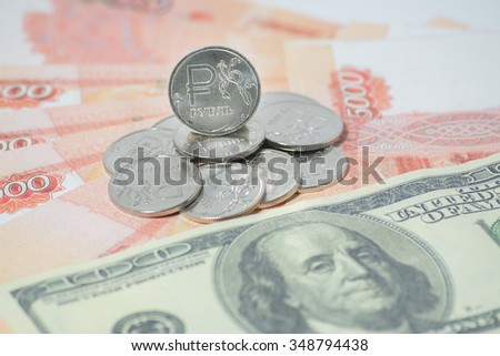 the Russian ruble and dollars - stock photo