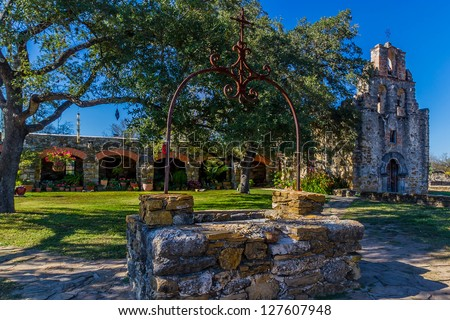 The Rustic and Historic Old West Spanish Mission Espada, established in 1690, San Antonio, Texas. - stock photo