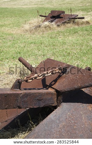 The rusty anchor - stock photo