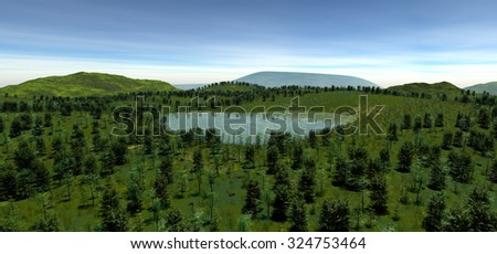 The sacred lake at the height of the hill in the summer. The light of day. The sun hidden behind white clouds. Most vegetation. Forest, grass, stones, lake. 3D Illustration, 3D rendering - stock photo