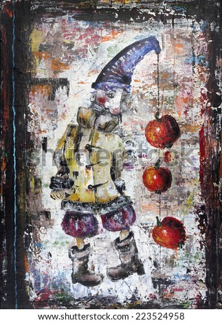 The sad lonely clown with red apples concept illustration. The acrylic handmade painted art on canvas - stock photo