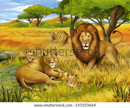 The safari - illustration for the children - stock photo