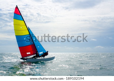 The sailboat, The enjoy activity in summer - stock photo
