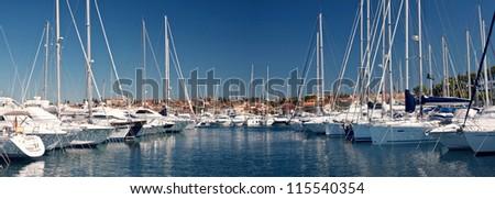 the sailing boats in harbor- city Rovinj - Croatia (Istria) - stock photo