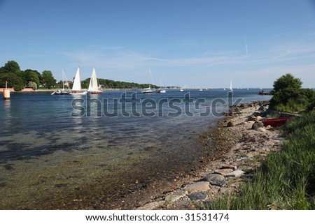 The sailing yachts on the Baltic sea - stock photo