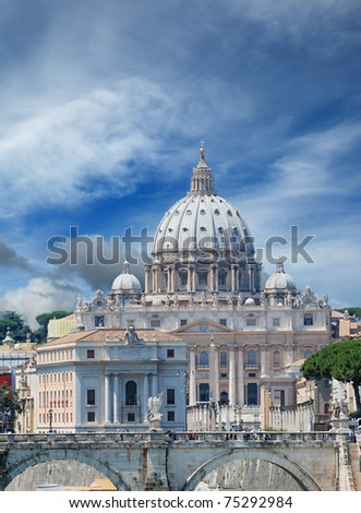 The Saint Peter's Basilica in Vatican, Italy. - stock photo