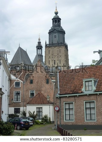 The Saint Walpurga church with houses in front in Zutphen in the Netherlands