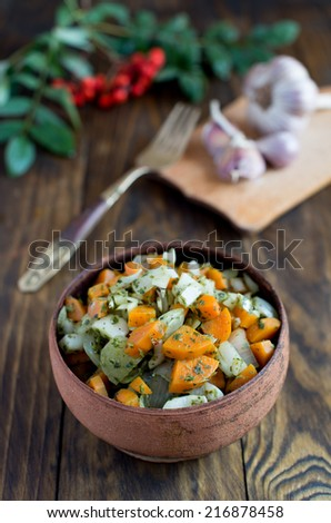 The salad of carrot, onion and garlic