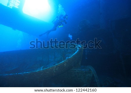 The Salem Express is a big wreck that makes for a very eerie dive. - stock photo