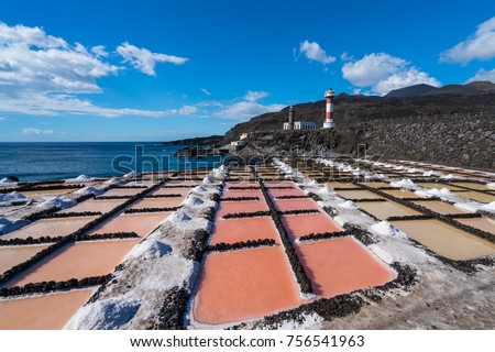 The Salinas de Fuencaliente (Salt fields of Fuencaliente) in the south of the island of La Palma, Canary Islands, Spain. Flor de Sal is harvested as sea water is trapped between stone and mud.