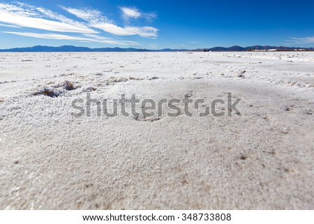 The Salinas Grande against a blue sky, a huge salt field in Jujuy Province, north of Argentina. (Selective focus)
