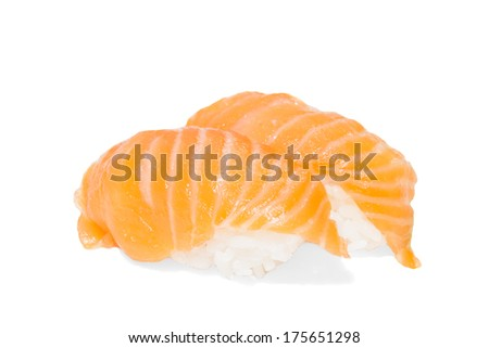 The salmon sushi isolated on white background