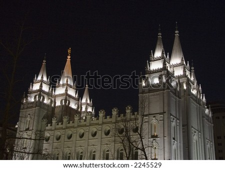 The Salt Lake City, Utah LDS (Mormon) temple taken at night - stock photo