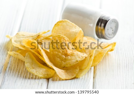 the salted crispy potato chips - stock photo