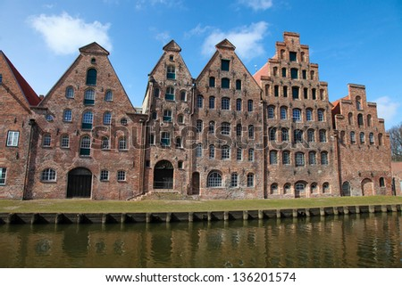 The Salzspeicher (salt storehouses) of Lubeck, Germany, are historic brick buildings on the Upper Trave River next to the Holstentor (the western city gate), built in the 16th-18th Century