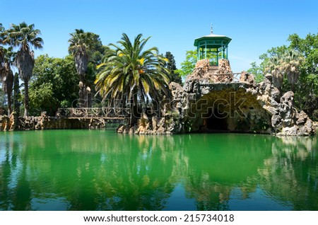 The Sama Park is unusual garden built at the end of the 19th century in the colonial style. It has beautiful artificial lakes, canals, grottos and bridges. - stock photo