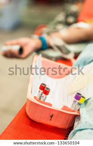 The sample of blood of the blood donater - stock photo