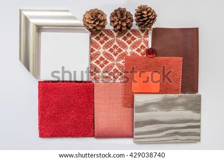 The sample of material color boards for interior design ideas,Red Color Schemes