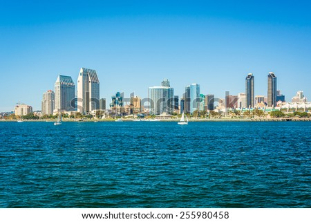 The San Diego skyline seen from Centennial Park, in Coronado, California.