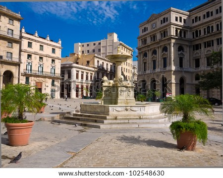 The San Francisco Square in Old Havana , a touristic landmark famous for its traditional architecture and ancient spanish palaces in Old Havana - stock photo
