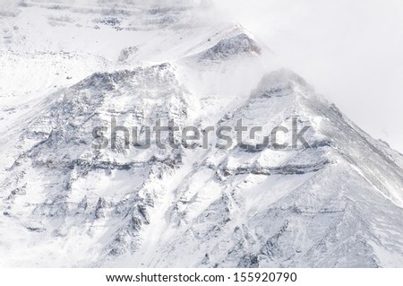 The San Juan Mountain range in Colorado starts early with its first snow fall/San Juan Mountains/From Lizards Head Pass, at ten thousand feet, this blizzard is a frenzy of excitement for skiers.  - stock photo