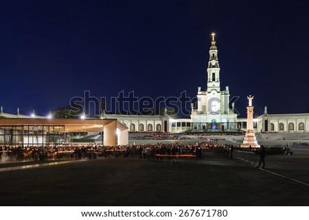 The Sanctuary of Fatima at the night, Fatima, Portugal - stock photo
