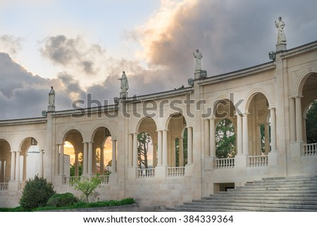 The Sanctuary of Fatima, which is also referred to as the Basilica of Lady Fatima, Portugal - stock photo