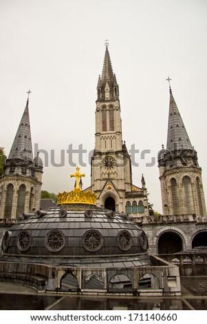 The sanctuary of Lourdes (Pyrenees, France) - stock photo