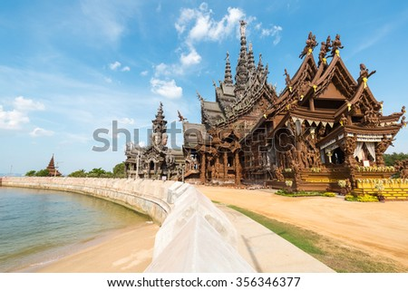 the sanctuary of truth in pattaya, thailand,a gigantic wooden carve sculpture construction