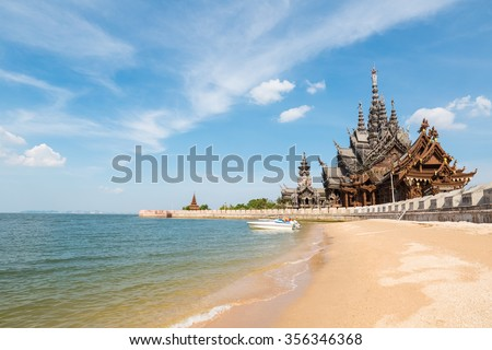 the sanctuary of truth on the seashore in pattaya,  thailand. - stock photo