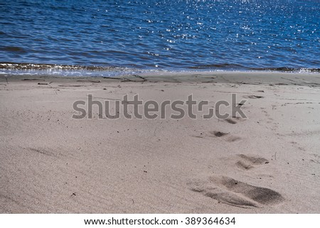 the sandy beach at the blue river with traces