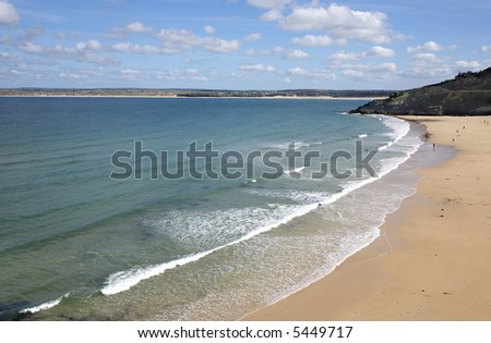 The sandy Porthminster beach in St. Ives, Cornwall UK. - stock photo