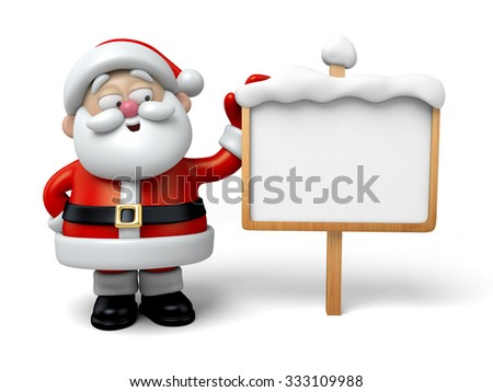 The Santa Claus and a billboard - stock photo