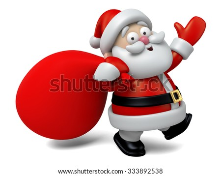 The Santa Claus and a burden of gifts - stock photo