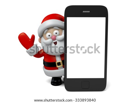 The Santa Claus and a cellphone - stock photo