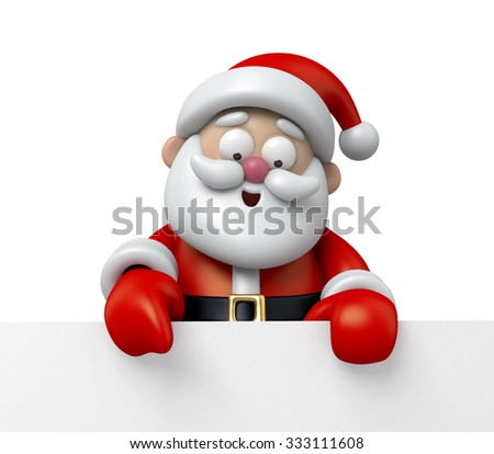 The Santa Claus and a white board - stock photo