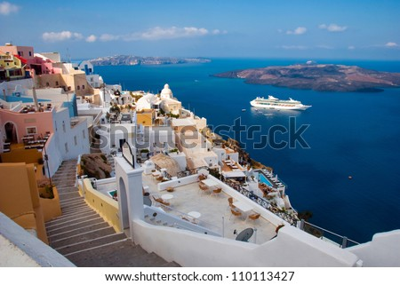 The Santorini island. Morning view of the harbor, the volcano and township