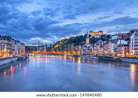 The Saone river in Lyon city at evening,  France