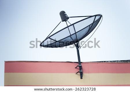 The Satellite dish antenna communication Technology Network - stock photo