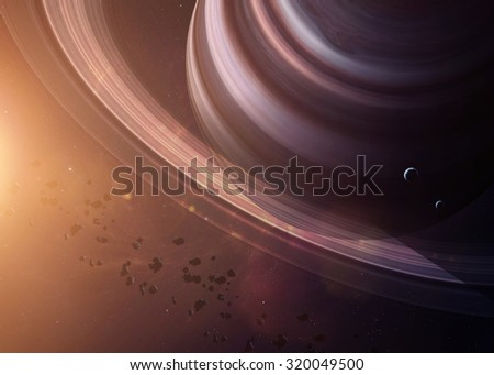 The Saturn with moons shot from space showing all they beauty. Extremely detailed image, including elements furnished by NASA. Other orientations and planets available. - stock photo