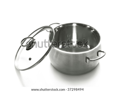 the saucepan with its lid - stock photo