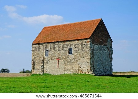 The Saxon Chapel of St Peter-on- the- Wall at Bradwell on Sea Essex was built by St Cedd in 654 AD. He used stones from the nearby old Roman fort, Orthona.