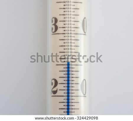 The scale of the vintage thermometer with blue liquid pillar