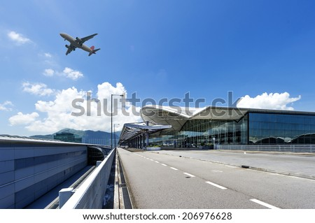 the scene of airport building - stock photo