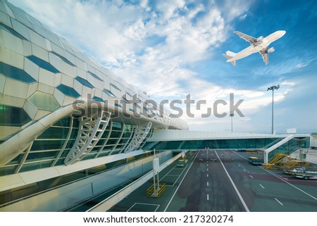 the scene of T3 airport building in shenzhen - stock photo