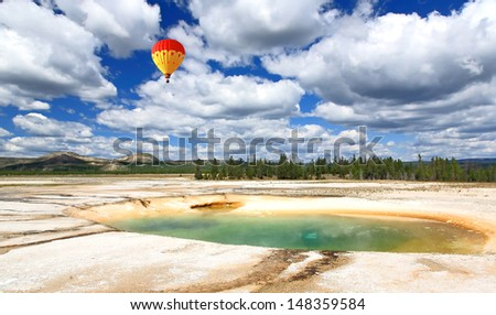 The scenery at Midway Geyser Basin in Yellowstone National Park  - stock photo