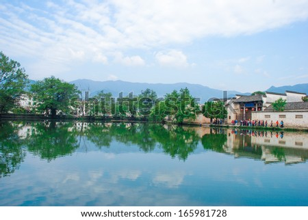 The scenery in Hongcun, one of the famous ancient Chinese - stock photo