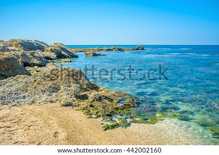 The scenic nature of Caesarea National Park, located between Tel Aviv in Haifa, in the Western Halilee, Israel. - stock photo