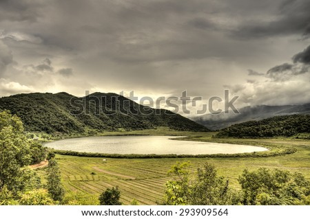 The scenic Rhi Lake near the Indian border in Chin Stae, Myanmar (Burma) - stock photo